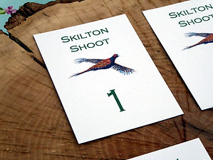 sweepstake cards, shoot cards, pheasant cards, shoot stationery, peg number cards, game cards