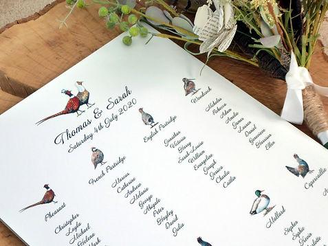 gamekeeper wedding stationery, gamebird wedding stationery, table plan, seating plan, pheasant table plan, game bird table plan, game bird seating plan