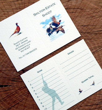 Inside of a bespoke shoot card showing both bag and gun pages with a pheasant, game card, shoot card, game bird, invitation, shoot dinner, pheasant shoot