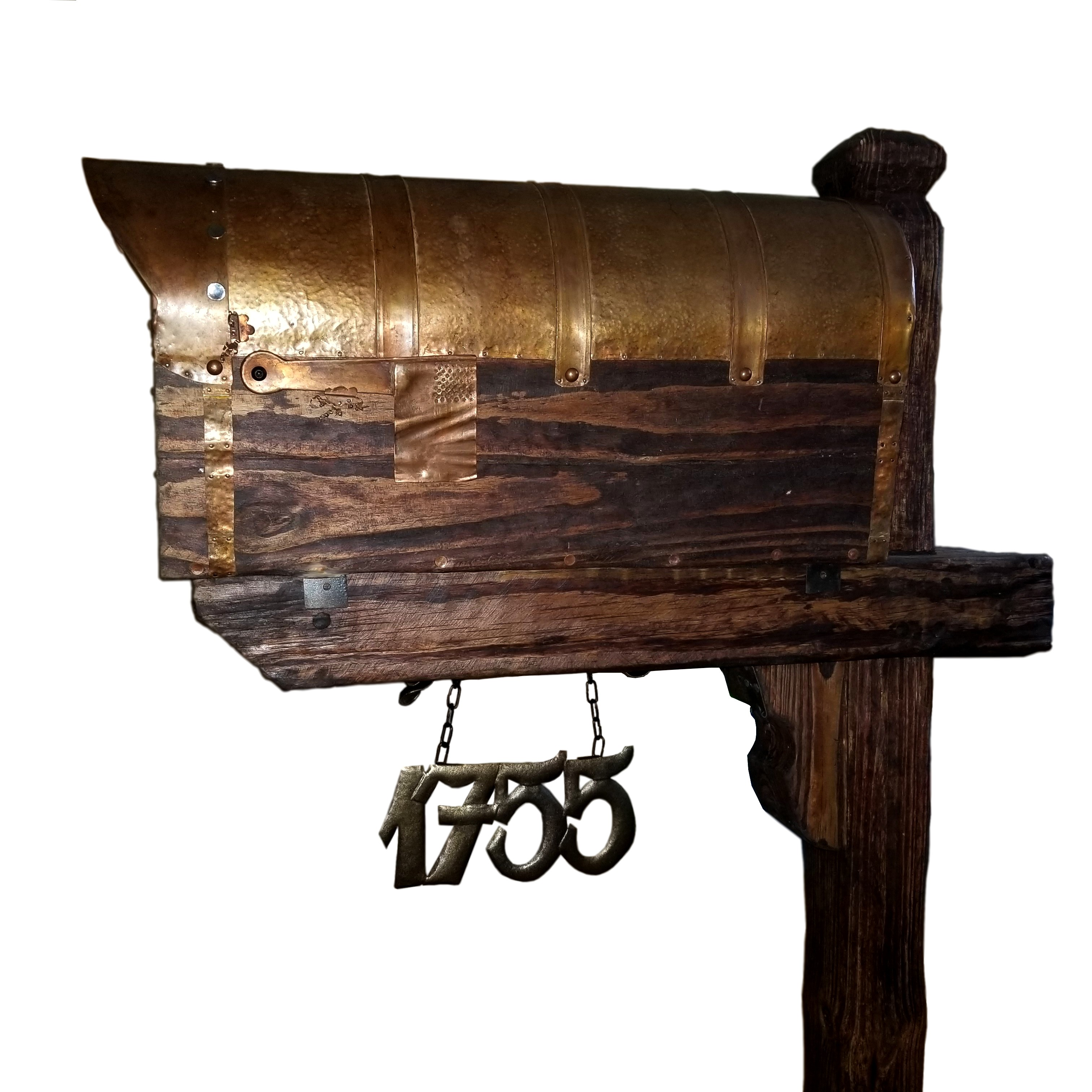 Rustic Mailbox With The Copper Roof and American Flag