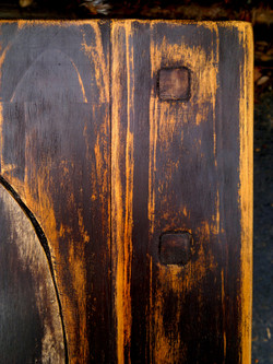Rustic end table. Detail