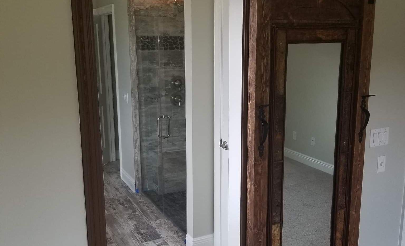 Rustic Door With the Mirror