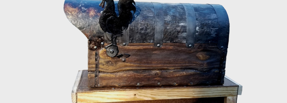 Rustic mailbox with the rooster flag