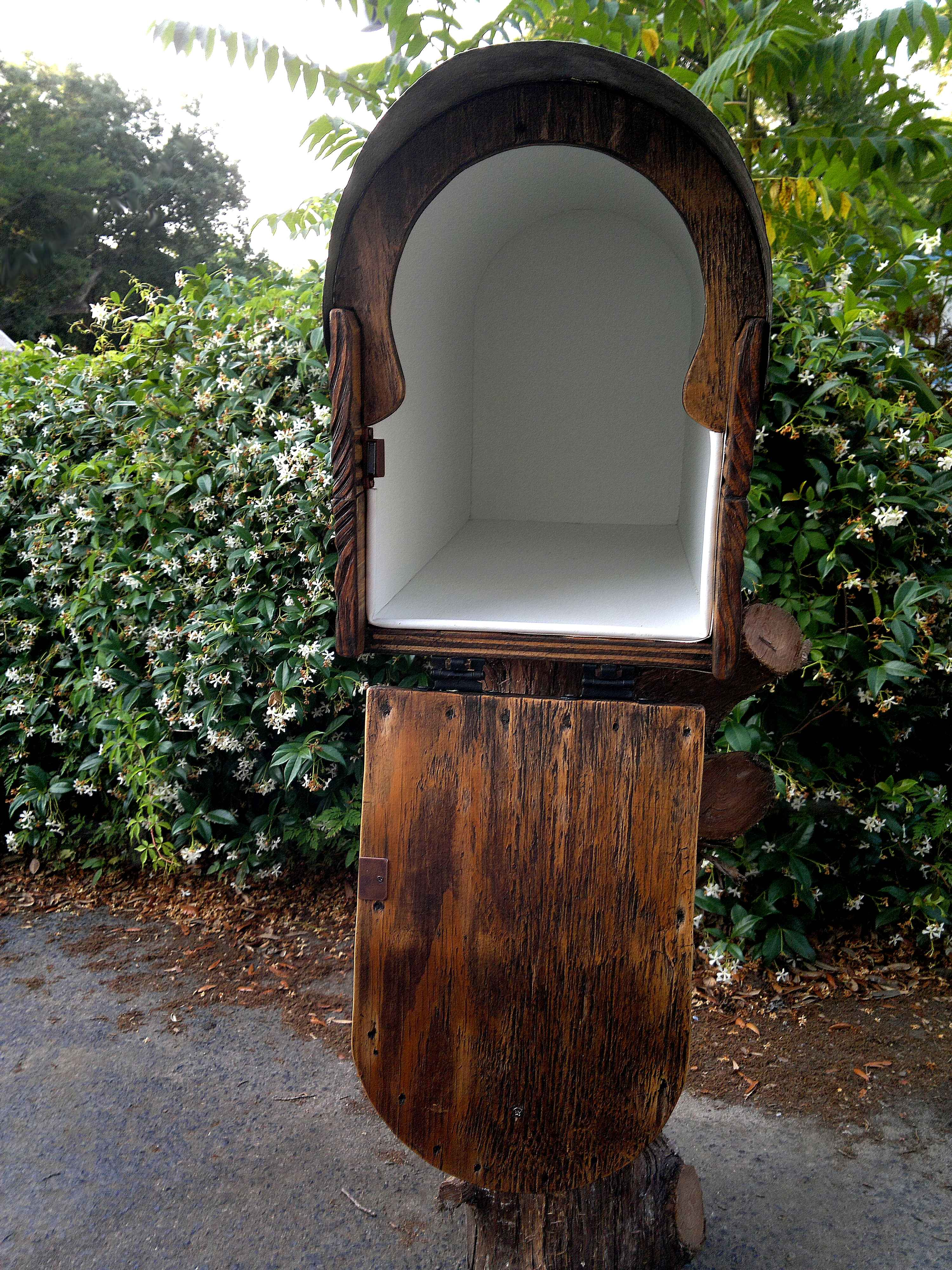 Rustic mailbox. Inside