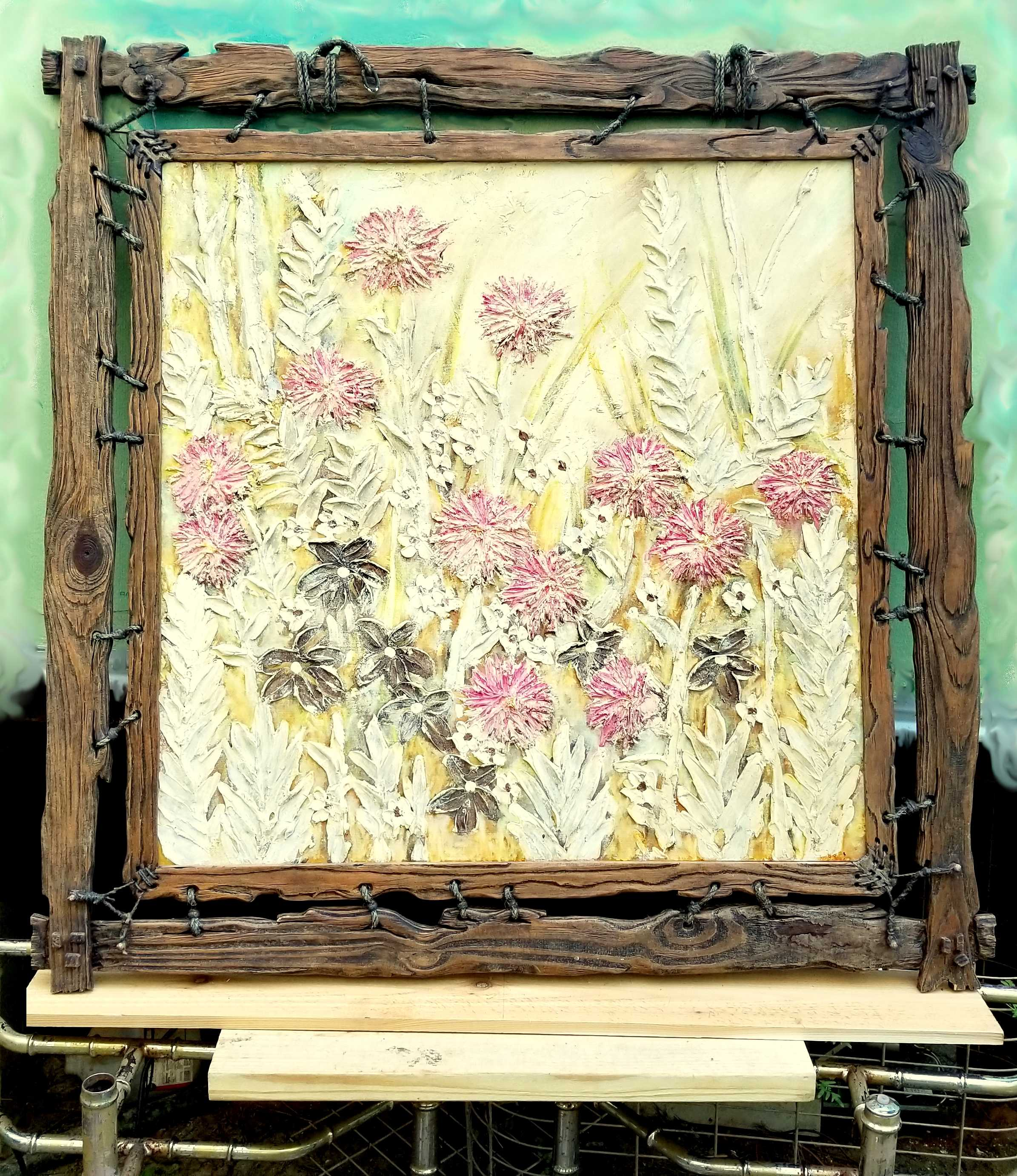 Oil painting with rustic pine frame