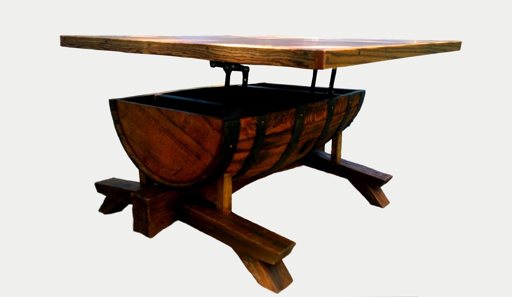 Oak barrel coffee table
