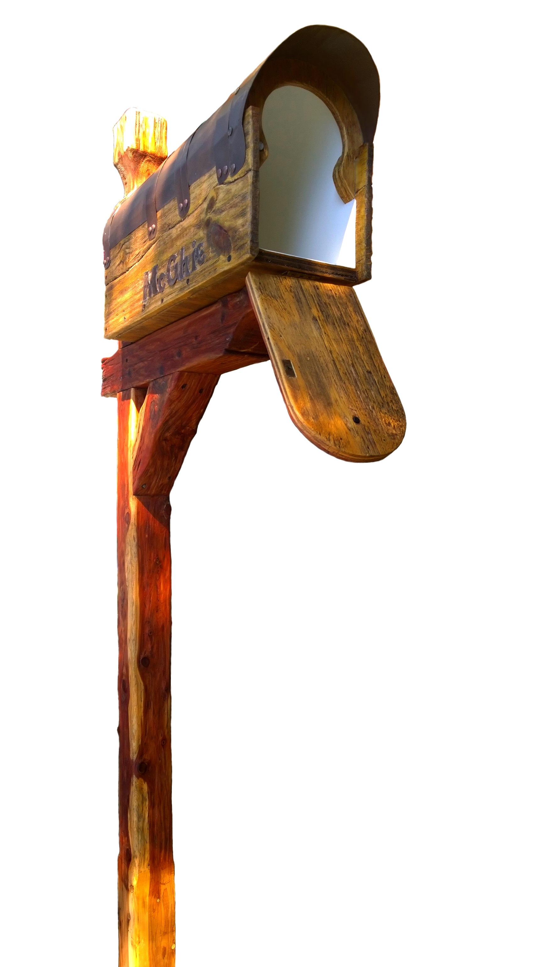 Rustic mailbox with cedar post