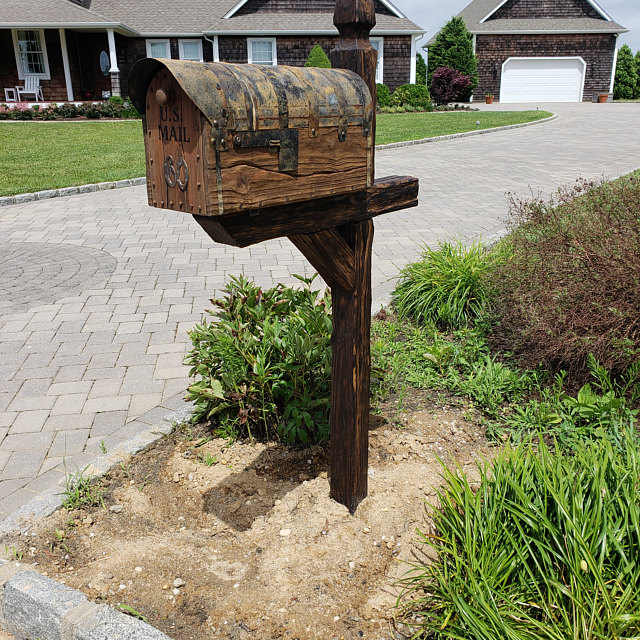 Rustic mailbox with the post