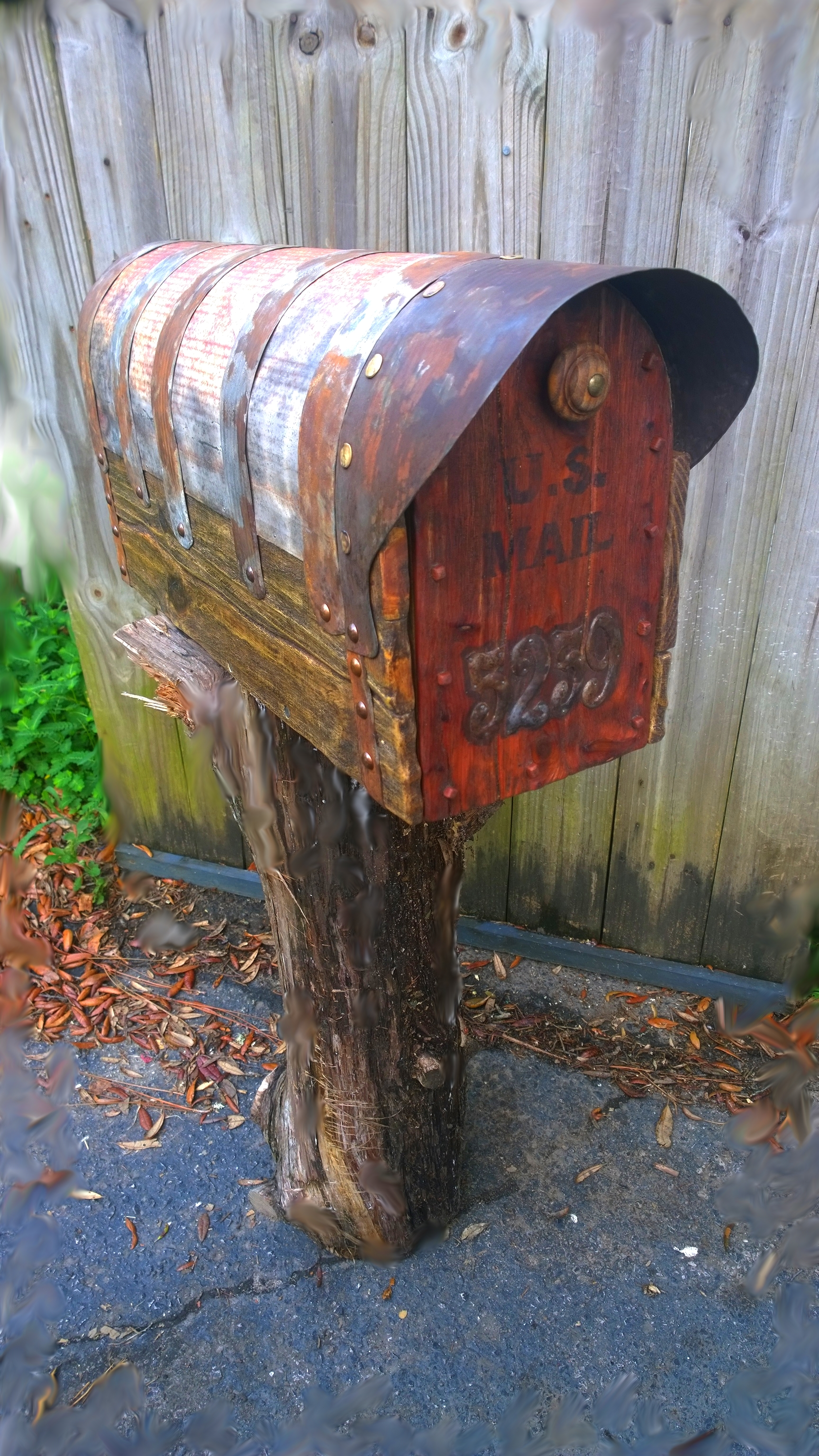 Rustic mailbox. Cedar door