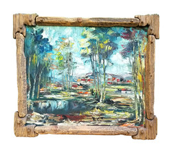 Oil painting with pine frame