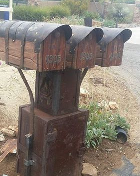 Community rustic mailboxes in CA