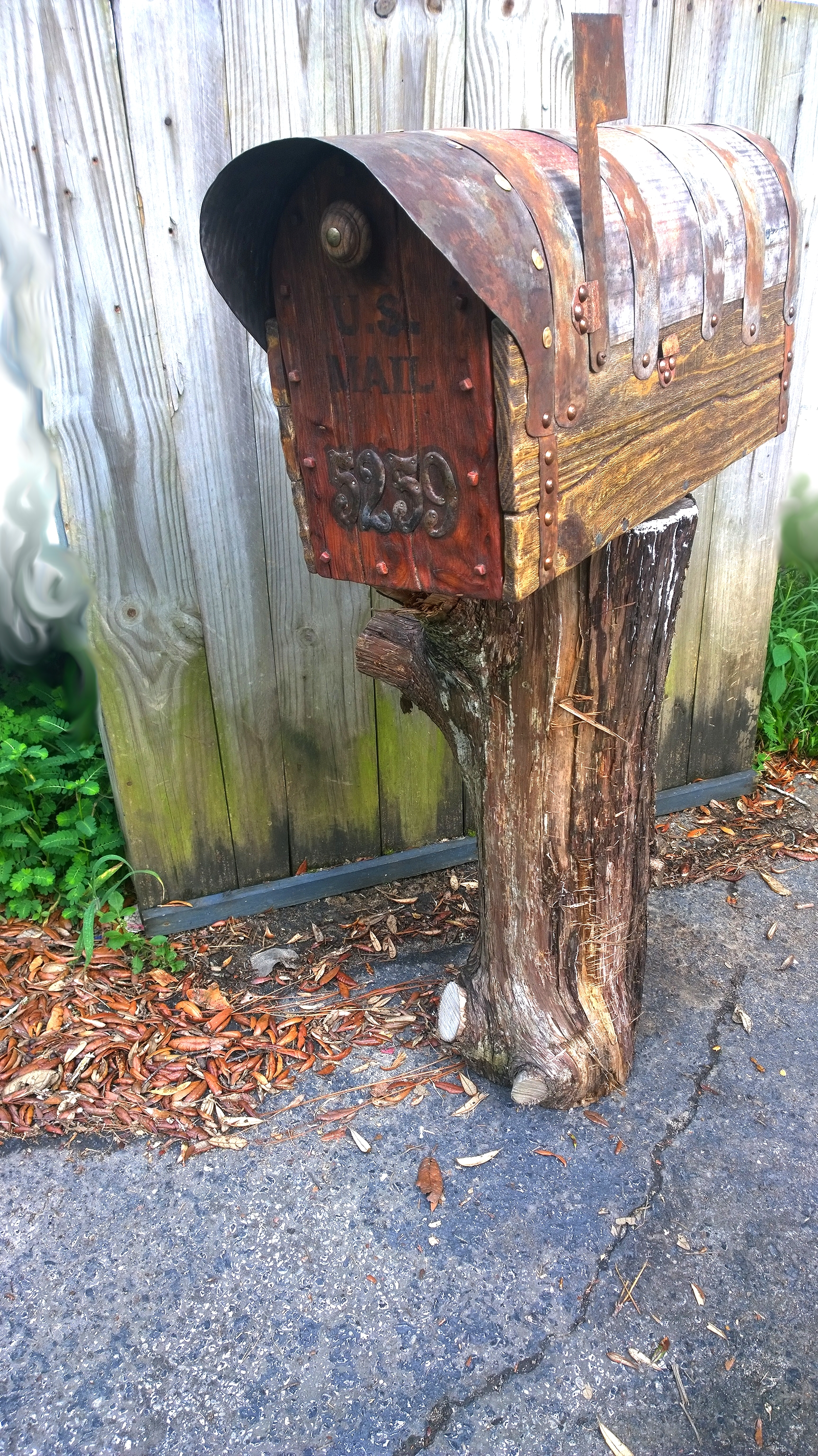 Rustic mailbox. hand forged metal