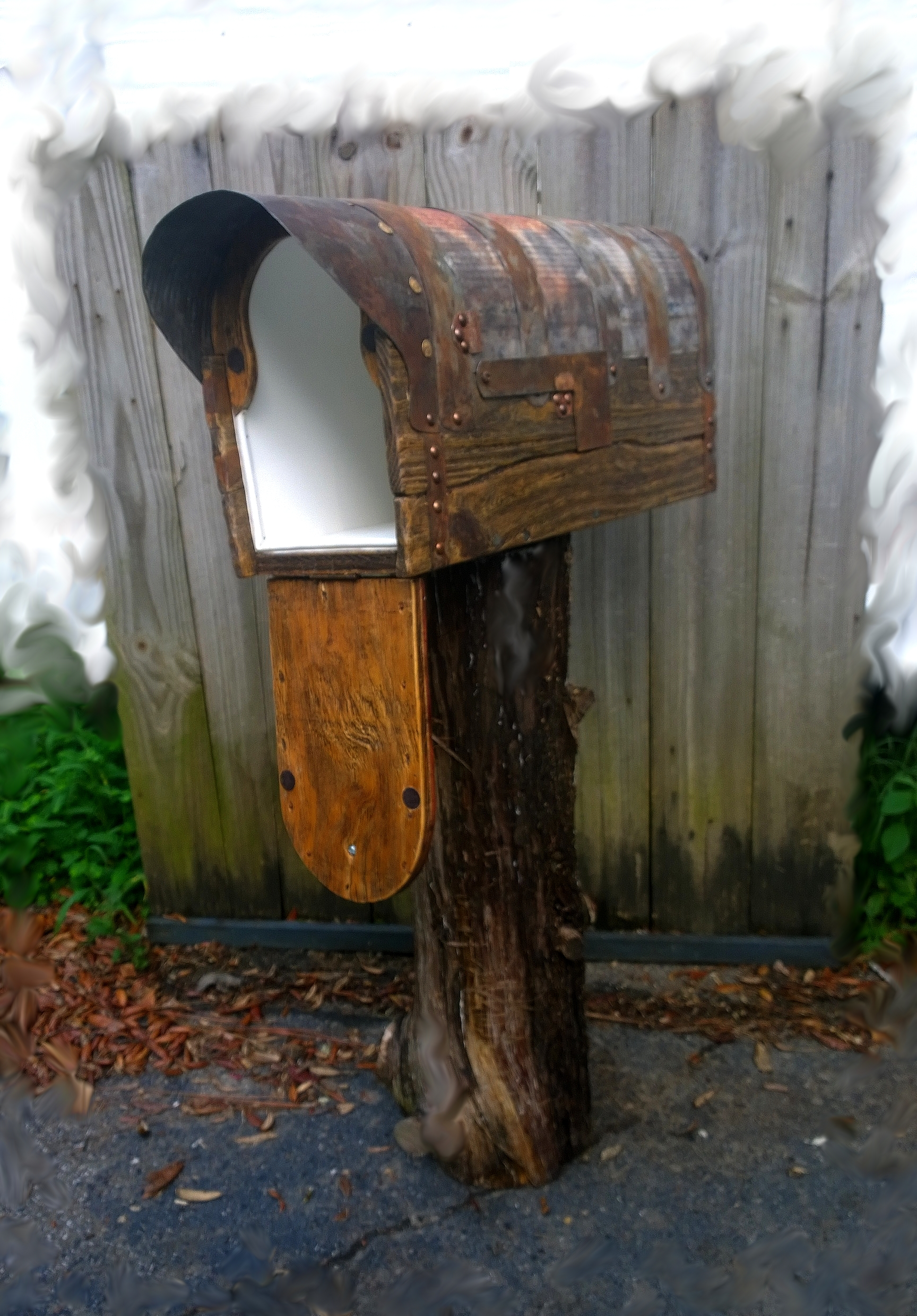 Rustic mailbox. Leak proof box