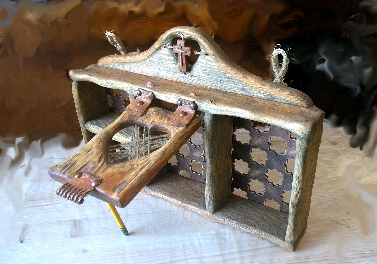 Rustic shelf with cedar cross on top