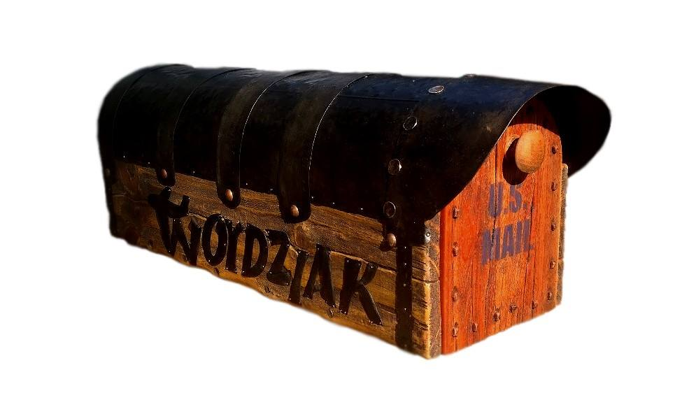 Rustic mailbox with hand forged name