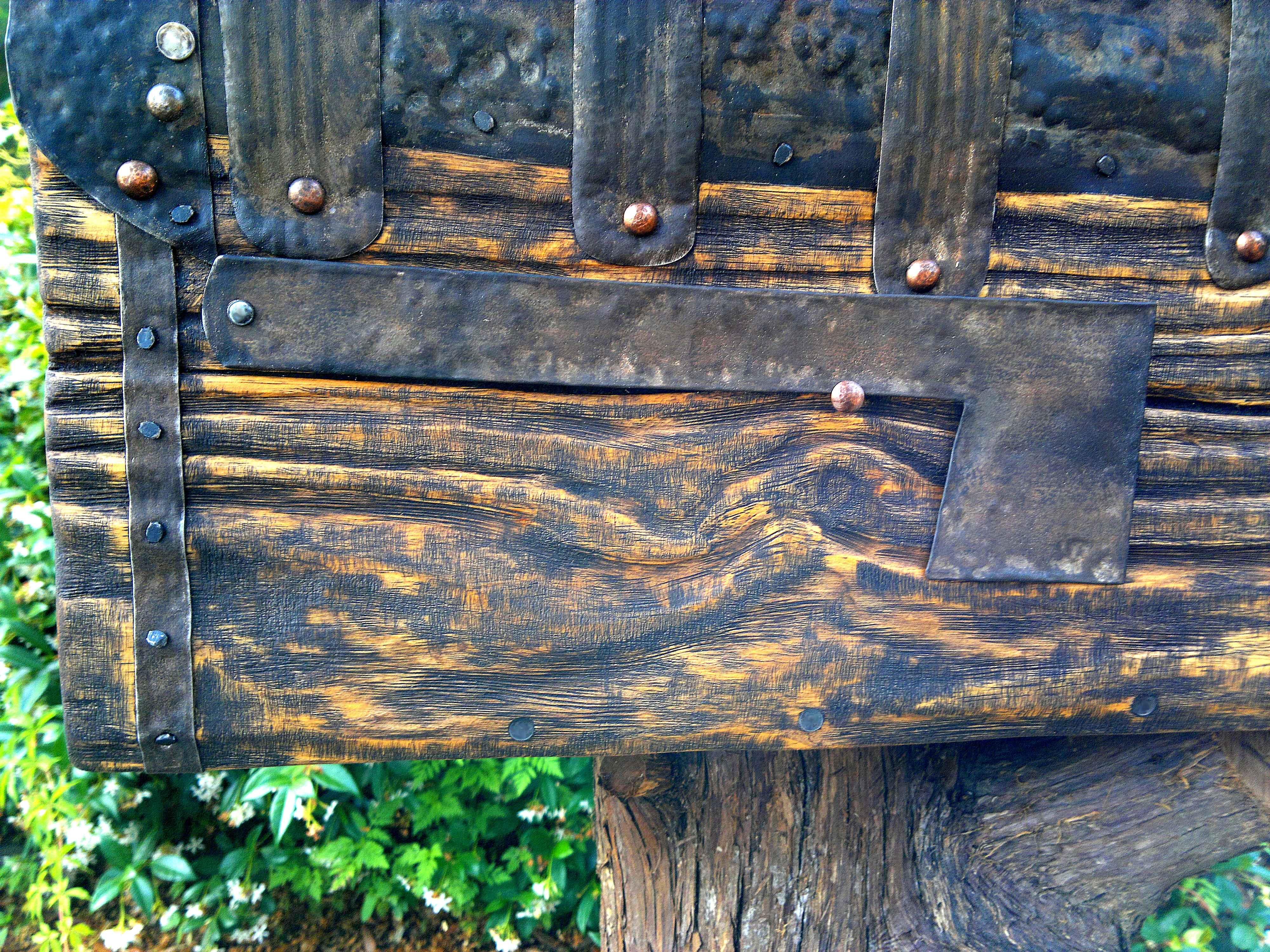 Rustic mailbox. Flag