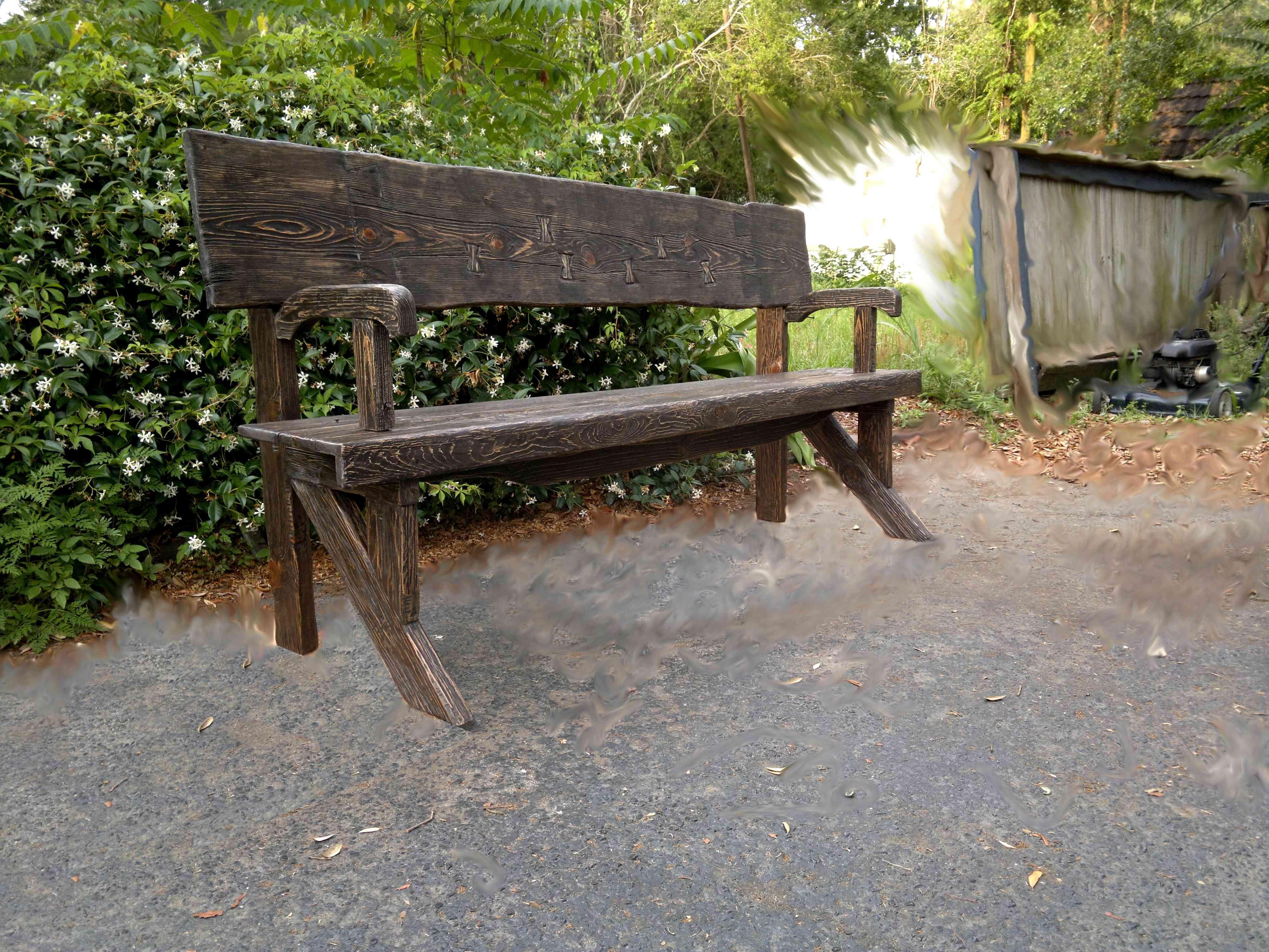 Rustic bench. Detail