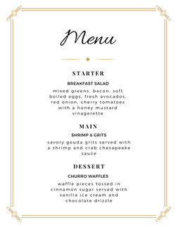 Breakfast for Dinner Menu