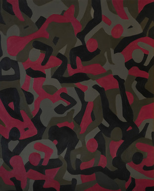 untitled camo 2, 16in x 20in, oil on can