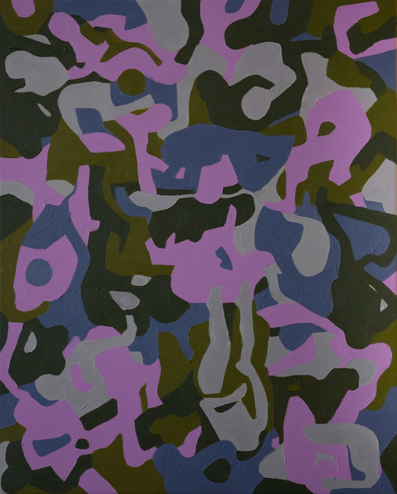 untitled camo 1, 16in x 20in, oil on can