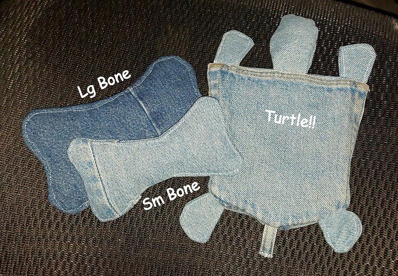 Denim Dog toys bone turtle crinkle effect