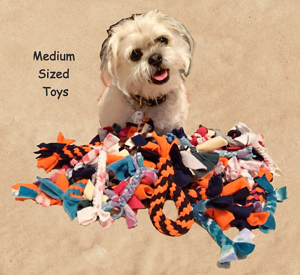 woven fleece doy toys sticks tugs medium size