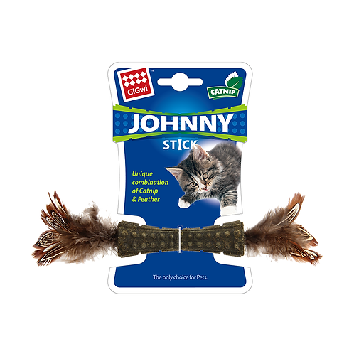 Catnip Jhonny Stick w/ Double Side Natural Feather (Brown)