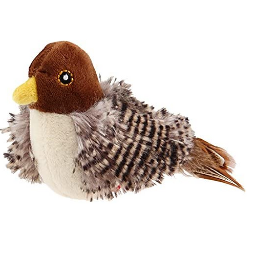 Bird 'Melody chaser w/ motion activated sound chip and feather