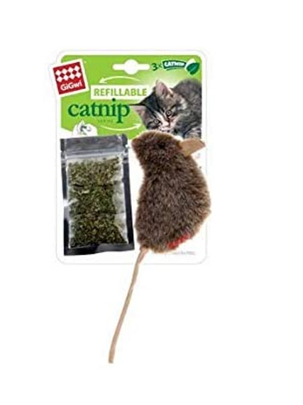 "GIGwi Mouse "" Refillable catnip' w/ 3 catnip teabags in ziplock bag"