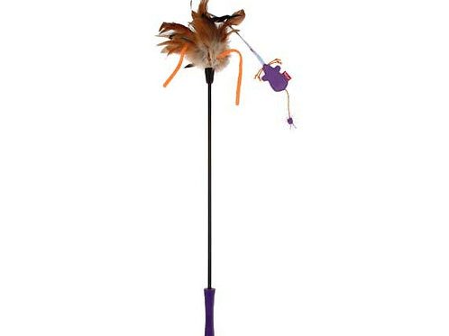 Catwant Feather Teaser w/ Natural Feather and TPR Handle (Purple)