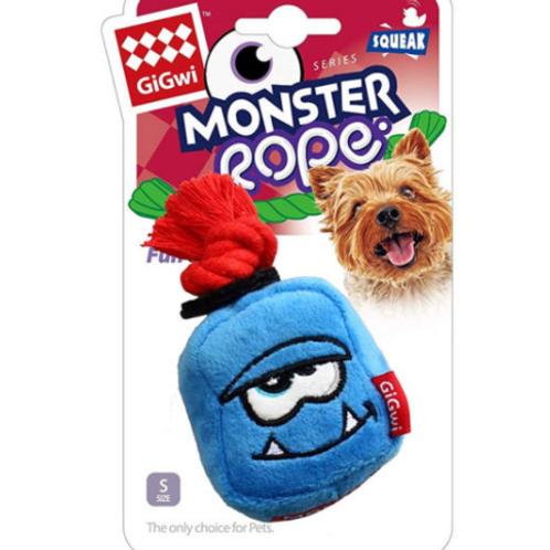 Blue Monster Rope Squeaker Inside Small Plush/Rope