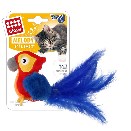GigwiMelody Chaser Red Parrot w/ Motion Sound Chip