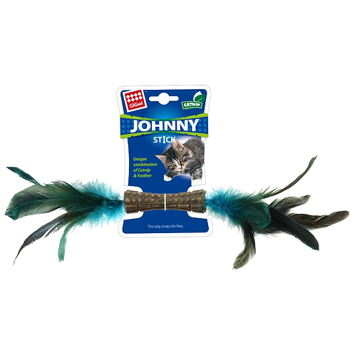 Catnip Jhonny Stick w/ Natural Feather Blue
