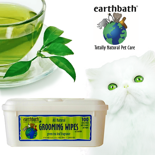 EARTHBATH Cat Grooming Wipes with Awapuhi Green Tea Scent