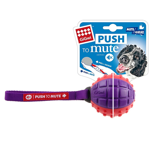 "GIGwi Regular Ball ""Push To Mute"" solid red/purple"
