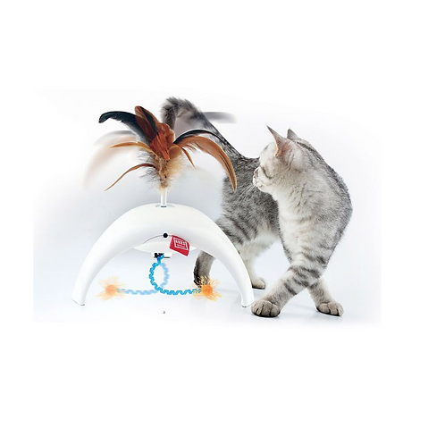 Feather Spinner Pet Droid w/2 replaceable natural feather and 3 motion senso