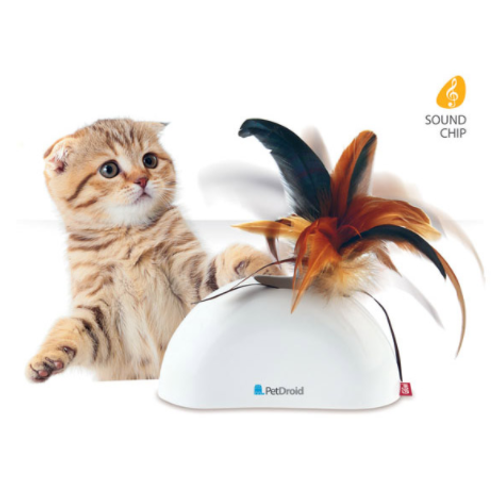 Feather Hider pet droid w/ natural feather sound module and motion sensor