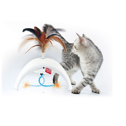 Feather Spinner Pet Droid with natural feather caps and 3 motion sensors