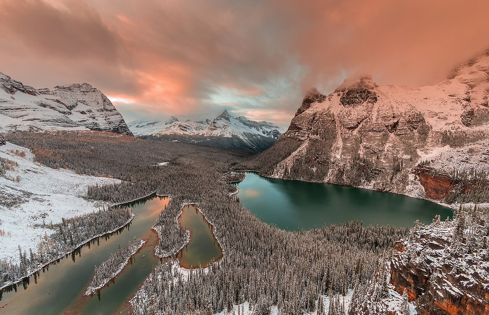 Image Name: Golden Light over Opabin Lake  Photographer Name: David Hua  Year: 2018  Image Description: It was taken at the top of Opabin plateau, Yoho national park , after three hours hiking. The scene was so spectacular after first round of snow in Sept.