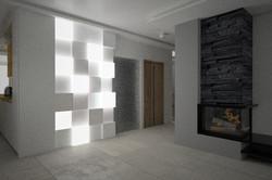 salon świecąca ściana