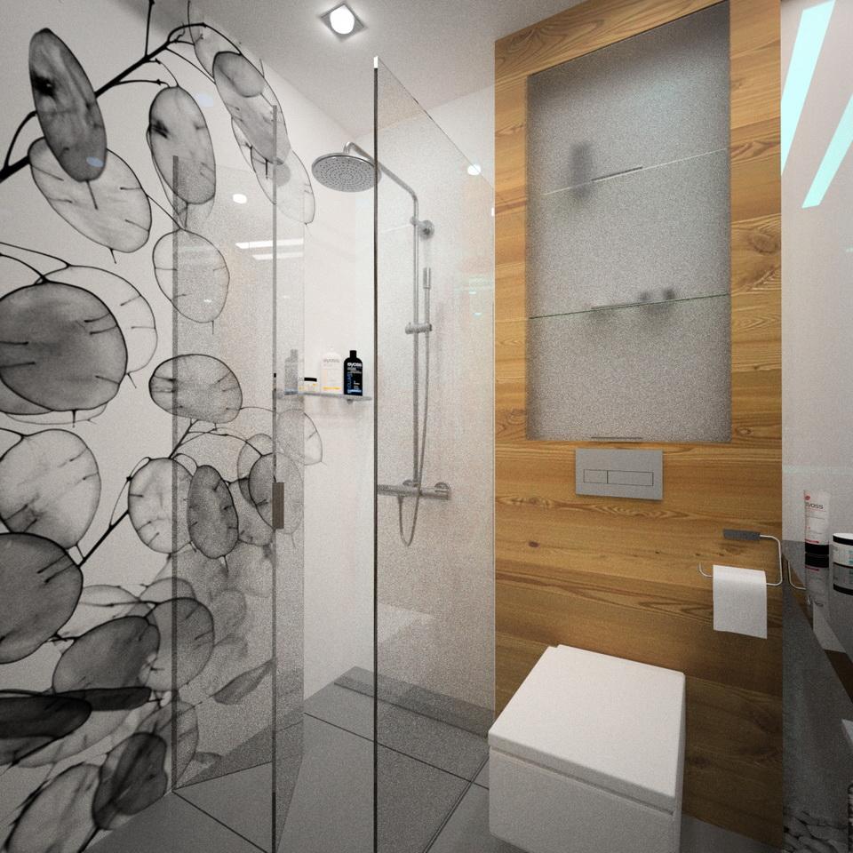 grafika na szkle pod prysznicem