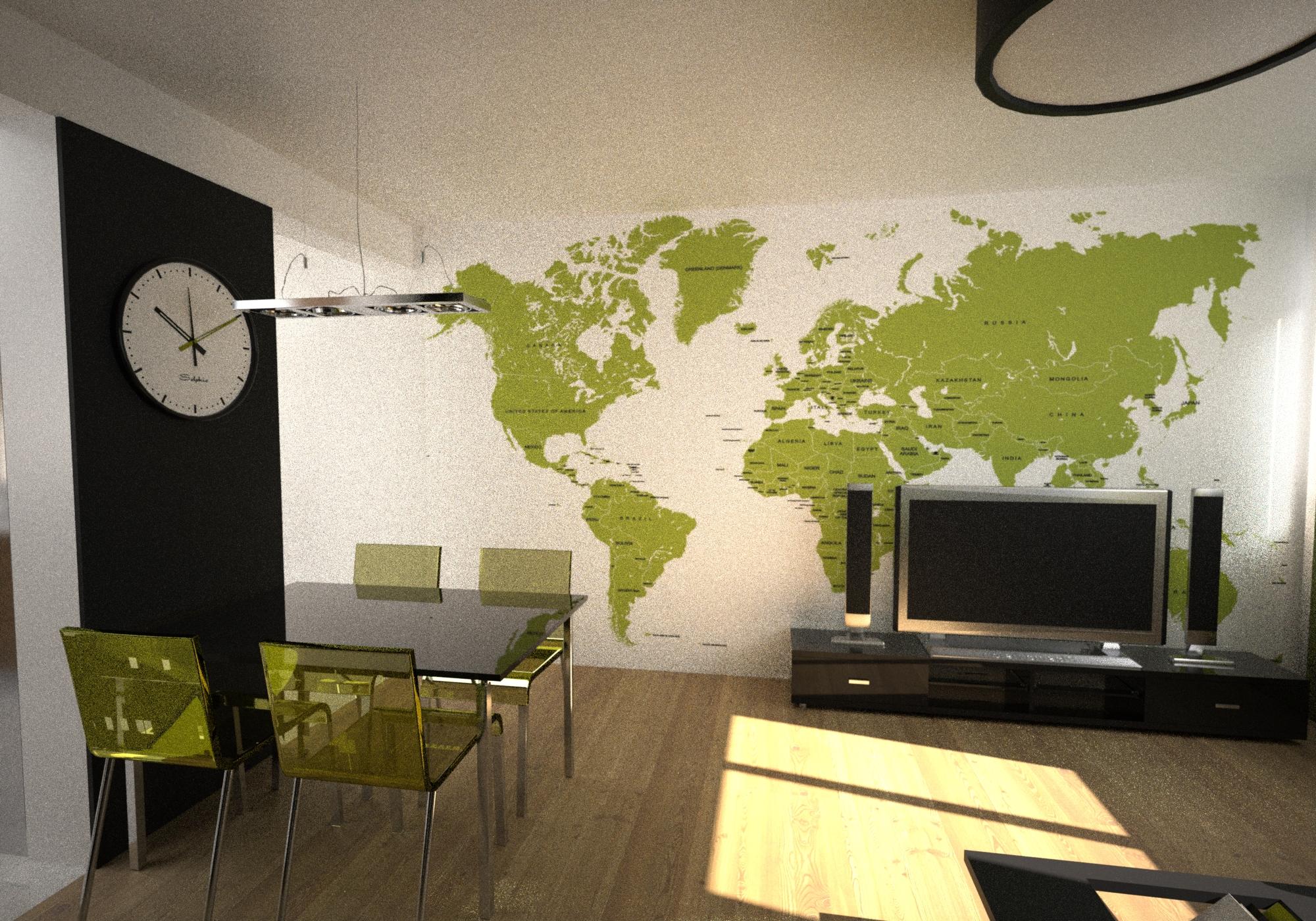 salon mapa świata na ścianie