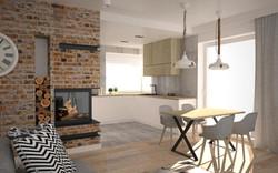 cegła i beton w kuchni