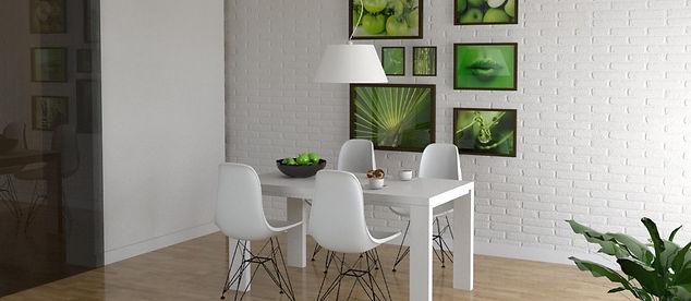projekt salonu biała ściana z cegły