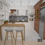 drewno w kuchni, pomysł na małą kuchnię, projekt małej kuchni, jak zaprojektować małą kuchnię, architekt czeladź, kuchnia w stylu skandynawskim, biała kuchnia, drewniany blat w kuchni, półki na wino, blat barowy, białe szafki w kuchni, jasne meble, ceglana ściana, ściana z cegły w kuchni, ściana z cegły w salonie, hokery, szare płytki nad blatem, kuchnia nowoczesna, projekt kuchni, koszyki na zioła, lodówka we wnęce, biały piekarnik, oświetlenie kuchni, jasna kuchnia, szafki z witrynami, ergonomia w kuchni, projektowanie wnętrz katowice, zioła na ścianie