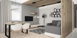 drewniany sufit w salonie
