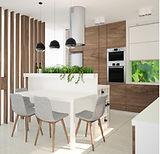 projektowanie wnętrz czeladź, biało szara kuchnia, azurowa ścianka w kuchni, zieleń w kuchni, kuchnia z zielonymi dodatkami, drewniana zabudowa kuchni, grafika nad blatem, drewno w kuchni, oświetlenie kuchni, kuchnia otwarta na salon, nowoczesna kuchnia, projekt kuchni, zielona grafika na szkle nad blatem