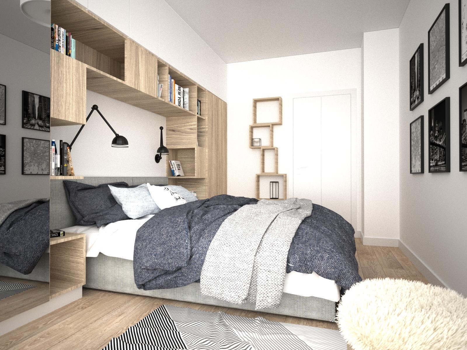 zabudowa w sypialni nad łóżkiem