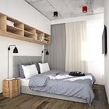 projektowanie wnętrz kraków, czerwone dodatki we wnętrzu, prosta sypialnia, stoliki nocne, drewniane klocki