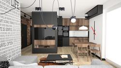 drewno i cegła w salonie
